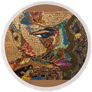 Round Beach Towel featuring the tapestry - textile Nina Simone Fragmented- Mississippi Goddamn by Apanaki Temitayo M