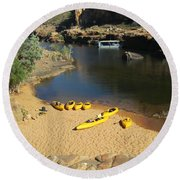 Round Beach Towel featuring the photograph Nitmiluk Gorge Kayaks by Tony Mathews