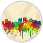 Norfolk Virginia Skyline Round Beach Towel