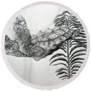 Round Beach Towel featuring the drawing Norman by Mayhem Mediums