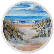 Round Beach Towel featuring the painting North Topsail Beach by Jim Phillips
