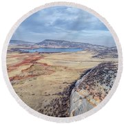 northern Colorado foothills aerial view Round Beach Towel