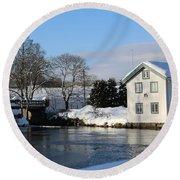 Norwegian Winter Landscape  Round Beach Towel