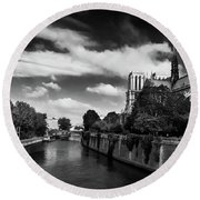 Notre Dame Cathedral And The River Seine - Paris Round Beach Towel