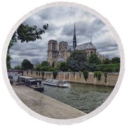 Round Beach Towel featuring the photograph Notre Dame Paris by Lynn Bolt