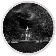 Round Beach Towel featuring the photograph Notre Dame University Black White by David Haskett