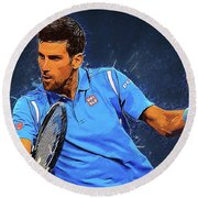 Novak Djokovic Round Beach Towel by Semih Yurdabak