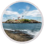 Nubble Lighthouse Round Beach Towel by Sharon Seaward