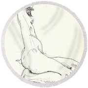 Nude 11 Round Beach Towel