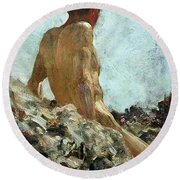Round Beach Towel featuring the painting Nude Study by Henry Scott Tuke
