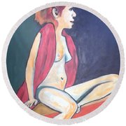 Nude With Red Shawl Round Beach Towel by Esther Newman-Cohen
