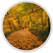 Nyc Autumn Round Beach Towel
