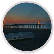 Ocean City  N J Sunrise Round Beach Towel by Allen Beatty