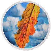 October Leaf B Fine Art Round Beach Towel