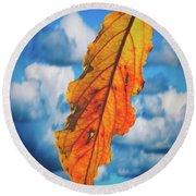 October Leaf B Fine Art Round Beach Towel