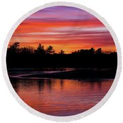 Odiorne Point Sunset Round Beach Towel