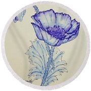 Oh Poppy Round Beach Towel by Marna Edwards Flavell