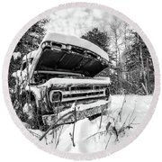 Old Abandoned Pickup Truck In The Snow Round Beach Towel