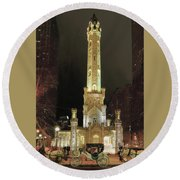 Old Chicago Water Tower Round Beach Towel