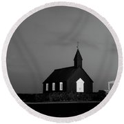Old Countryside Church In Iceland Round Beach Towel