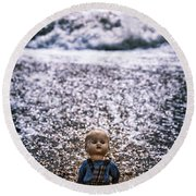Old Doll On The Beach Round Beach Towel