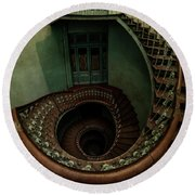 Old Forgotten Spiral Staircase Round Beach Towel by Jaroslaw Blaminsky