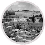 Old Jerusalem Round Beach Towel by Munir Alawi