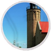 Old Mackinac Point Lighthouse Round Beach Towel