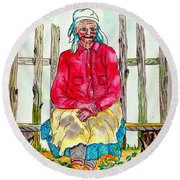 Old Migrant Worker, Resting, Arcadia, Florida 1975 Round Beach Towel