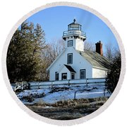 Old Mission Lighthouse Round Beach Towel