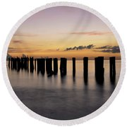 Round Beach Towel featuring the photograph Old Naples Pier by Kelly Wade