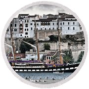 Old Port Mahon And Italian Sail Training Vessel Palinuro Hdr Round Beach Towel