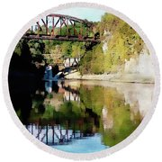 Round Beach Towel featuring the photograph Old Railway Bridge Over The Winooski River by Joseph Hendrix