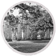 Old Sheldon Church - Tree Canopy Round Beach Towel