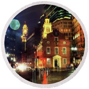 Round Beach Towel featuring the photograph Old State House - Boston by Joann Vitali