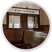 Old Time Train Station Round Beach Towel