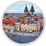 Round Beach Towel featuring the photograph Old Town Square by Fabrizio Troiani