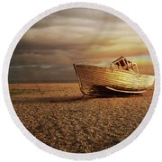 Old Wooden Boat Round Beach Towel