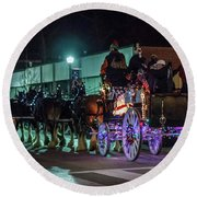 Olde Tyme Travel Clydesdales Lit Up Round Beach Towel