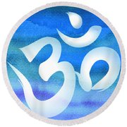 Om Symbol. Blue And White Round Beach Towel