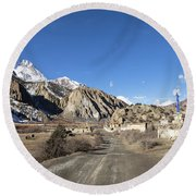 On The Annapurna Circuit Trekking Near Manang In Nepal Round Beach Towel