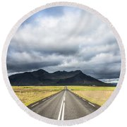 On The Road In Iceland Round Beach Towel