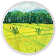 Round Beach Towel featuring the painting On The Way To Ubud II Bali Indonesia by Melly Terpening