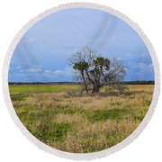Open Fields Round Beach Towel