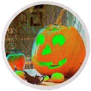 Orange Halloween Decoration Round Beach Towel