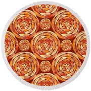 Orange Pattern Round Beach Towel by Gaspar Avila