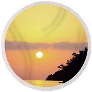 Orange Sunrise Above Sea Round Beach Towel