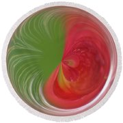 Round Beach Towel featuring the photograph Orb Image Of A Wild Red Columbine by Brenda Jacobs