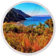 Round Beach Towel featuring the photograph Oregon Coastal Waters by Nancy Marie Ricketts