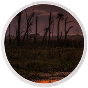 Orlando Wetlands Sunrise Round Beach Towel